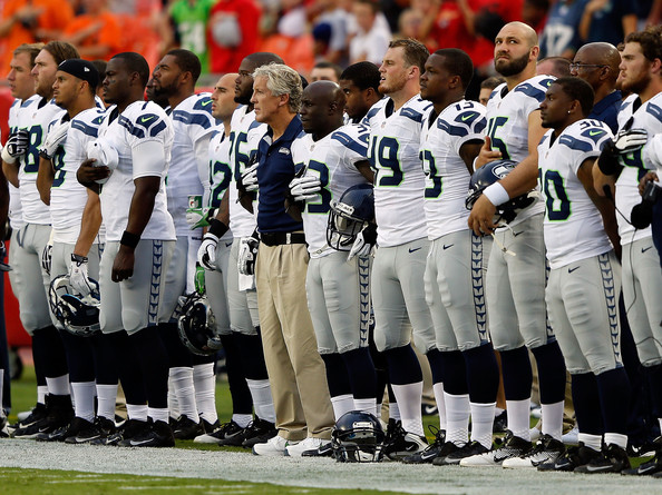 Seattle Sehawks at National Anthem