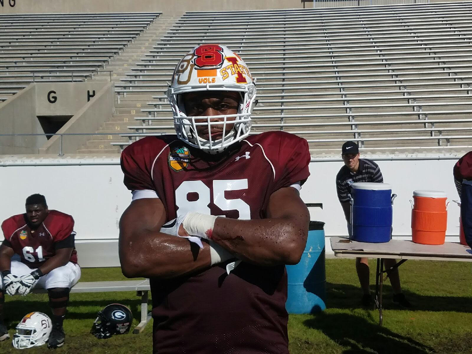 (Jason Croom posing after scoring his second touchdown of the day in the Tropical Bowl)